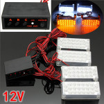 4x 22LED White Flashing Light Car Strobe Light with Controller 12V Car Lights