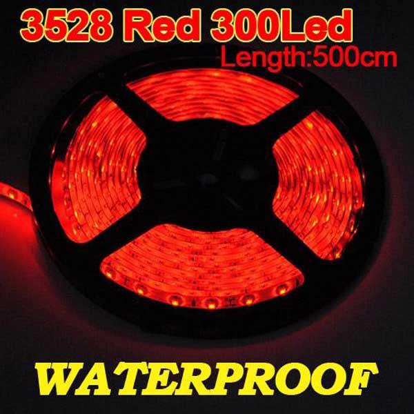 5M 300 LED 3528 SMD Röd Vattentät Strip Böjlig Bilbelysning Bilbelysning
