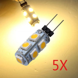 5 x Auto G4 9 LED SMD 5050 warme weiße Glühlampe Lampe 12V