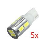 5 X T10 10SMD 5630 LED Canbus Parkeringsljus Bakre Lampa Vit Bilbelysning