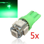 5 X T10 194 168 2825 5SMD 5050 LED Green Super Bright Bil Wedge Bulbs Bilbelysning