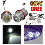 60W 6500K Bil CREE LED Angel Eye Halo Lys Bulb for BMW Bilbelysning