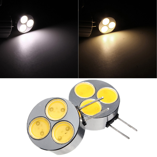G4 3W 3SMD COB LED Auto Licht Lampen Birne 12V reines / warmes Weiß Autobeleuchtung