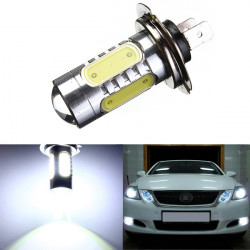 H7 7.5W 5 LED Pure Vit Dimljus Head Tail Driving Bilbelysning Bulb