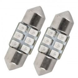 Par 12V 31mm Varmvit 6 LED Billampa Behandlingen Ljus