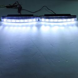 Par i Bil 8 LED Körning DRL Pannlampa Day Ljus Vit