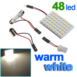 Panel 48 SMD LED-lampa T10 Dome Bulb BA9S 12V DC-adapter