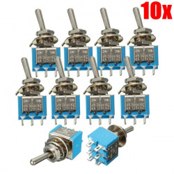 10ps 6 Pins 3 Position 3A 250V / 6A 120V ON / OFF / ON Toggle Switch