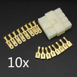 10 x 6.3mm Male Female 8 Way Connectors Terminal for Motorcycle Car