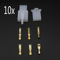 10 x Motorcycle Male Female 3 Way Connectors 2.8mm Terminal