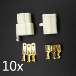 10 x Motorcycle Scooter Male Female 3 Way Connectors 6.3mm Terminal Motorcykel / MC