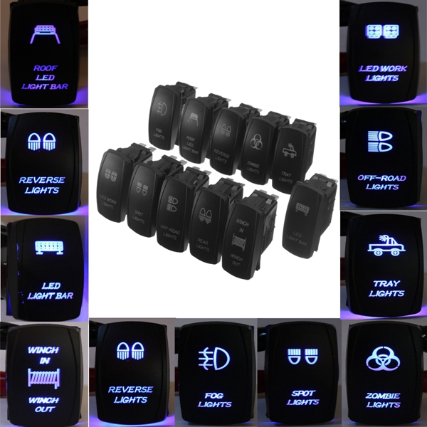 12V Dual Hintergrundbeleuchtung LED Laser geätzte ARB Carling Wippschalter Motorrad