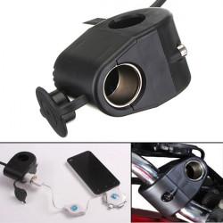 12V Motorcycle Cigarette Lighter Holder Power Socket For Phone MP3 GPS