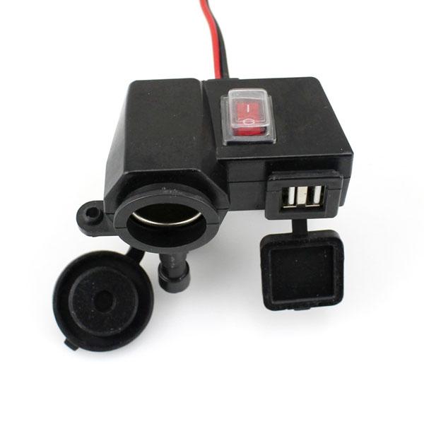12V Motorcykel Vandtæt Cigarettænder Adapter Dual USB Motorcykel / MC