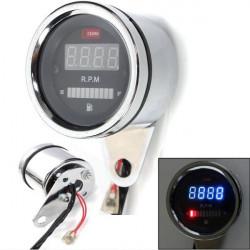 2 In 1 Motorcycle LED Digital Speedometer Tachometer Oil Fuel Gauge
