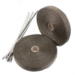 2 Rolls 2.5cm X 15m Titanium Exhaust Header Pipe Heat Wrap