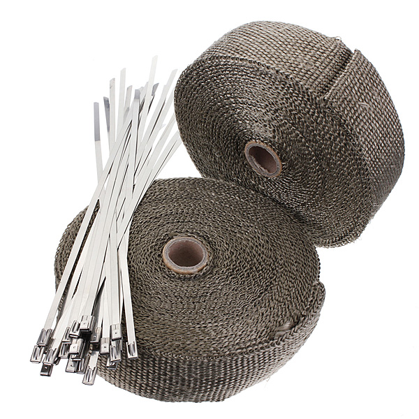 2 Rolls 2.5cm x 15m Titanium Exhaust Header Pipe Heat Wrap Motorcycle