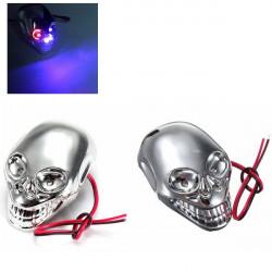 2st 12V Motorcykel Dekorativa Skull LED Blinkande Ljus