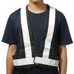 Black&White Reflective Vest High Visibility Warning Safety Gear