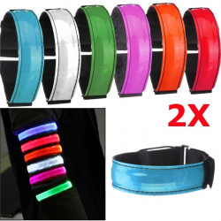 2pcs LED Reflective Arm Band Belt Strap Running Night Signal Safety Blue