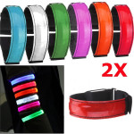 2pcs LED Reflective Arm Band Belt Strap Running Night Signal Safety Red Motorcycle