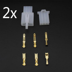 2xMotorcycle ATV Scooter Male Female 3 Way Connectors 2.8mm Terminal
