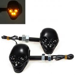 2x Motorcycle Skull Head Turn Light Indicator 12V 4 LED Amber Light