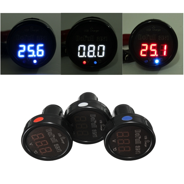 3 IN 1 Display LED Digital Thermometer Voltmeter USB Charger Motorcycle