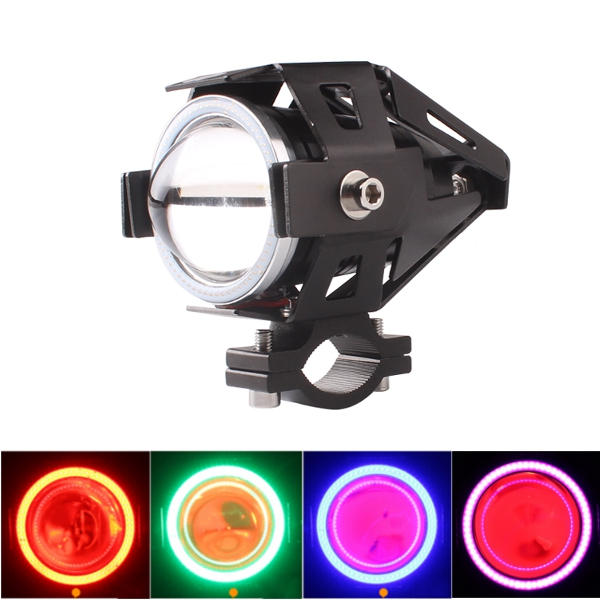 4 Color Angel Eyes High Low Beam CREE U6 LED Red Fog Spot Headlights Motorcycle