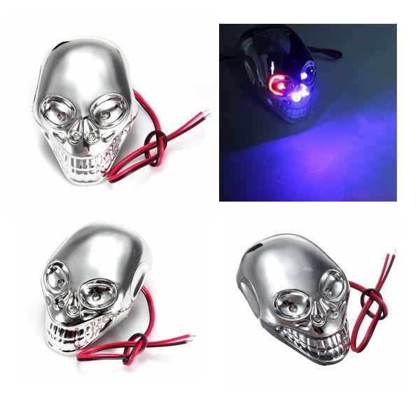 4stk 12V Motorrad Dekorative Schädel LED Blinklicht Motorrad