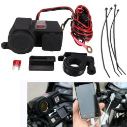 5V 12V Motorcycle Dual USB Port Waterproof Cigarette Charger Adapter