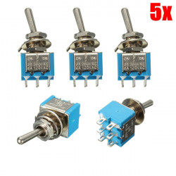 5PS 6 Pins 3 Position 3A 250V / 6A 120V ON / OFF / ON Toggle Switch
