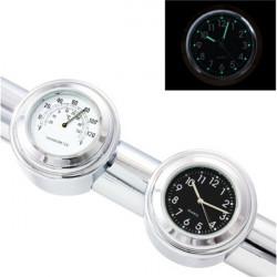 7/8inch Motorcycle Handlebar Chrome Clock Thermometer For Yamaha