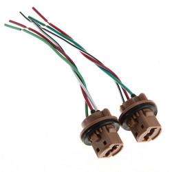 A Pair 7443 LED Bulb Brake Light Socket Harness Wire Plugs