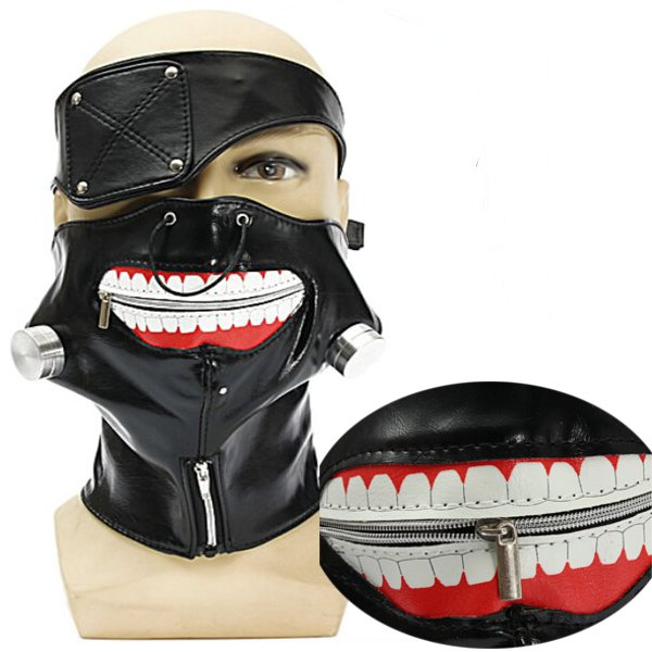 Adjustable Zipper Mouth PU Leather Eyepatch Mask Props Motorcycle