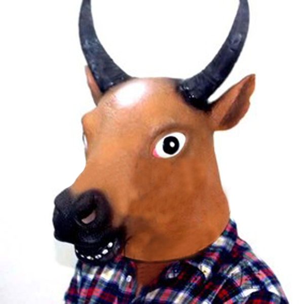 Cow Head Horse Face Animal Mask Prop for Halloween Festival Costume Motorcycle