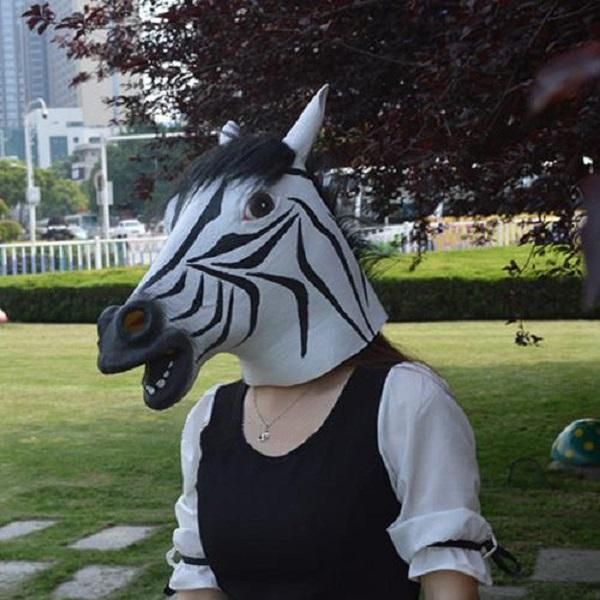 Dance Performance Props Halloween Simulation Zebra Horsehead Mask Motorcycle