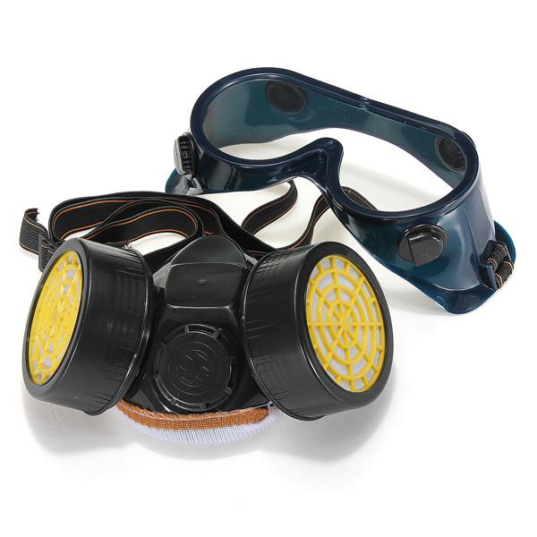 Dual Anti-Støv Respirator Mask Glasses Set Spray Paint Industrial Gas Motorcykel / MC