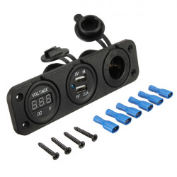 Dual USB Adapter Charger Digital Voltmeter Cigarette Lighter Sockets