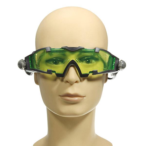 Grön Lens Justerbar Goggle Glasögon Eyewear Shield Med Ljus Motorcykel
