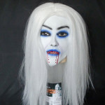 Horrible White Long Hair Latex Creepy Bleeding Mask  for Halloween Motorcycle