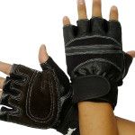 Leather Cuff Style Fitness Gloves Slip Resistant Half Finger Gloves Motorcycle