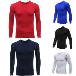 Mens Riding Sports High Collar Under Base Layer Long Sleeve T-Shirt