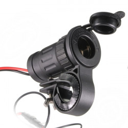 Motorcycle Cigarette Lighter Socket Plug Adapter Handlebar Mount