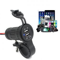 Motorcykel Dual USB-laddare Adapter för Telefon MP3