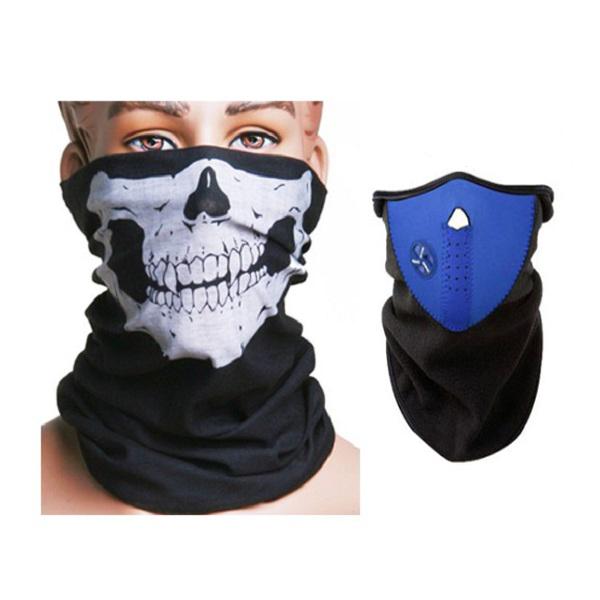 Motorcycle Face Neck Ski Warm Mask Blue + Skull Face Mask Scarf Motorcycle