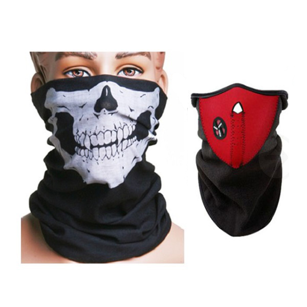 Motorcycle Face Neck Ski Warm Mask Red + Skull Face Mask Scarf Motorcycle