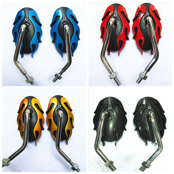 Motorcycle Flame Rearview Mirror For Harley Honda Suzuki Motorcycle