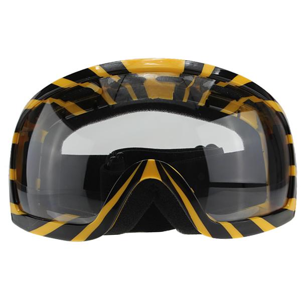 Motorcykel Goggles Glasögon Yellow Stripe Transparent Lins Motorcykel