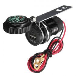 Motorcykel Styre USB-laddare Adapter Med Kompass för Phone MP3